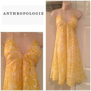 Anthropologie Shoshanna yellow floral halter dress